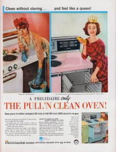 Image: The Pulln Clean Oven - 1960 Frigidaire magazine ad.